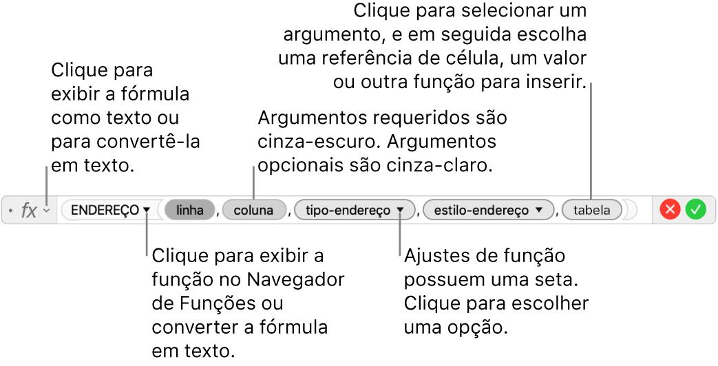 Editor de fórmula mostrando a função ENDEREÇO e seus tokens de argumento.
