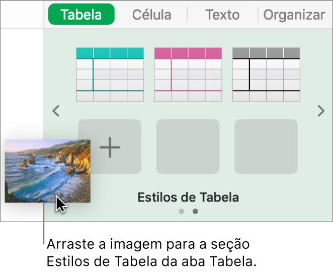 Arrastando uma imagem para os estilos de tabela para criar um novo estilo.