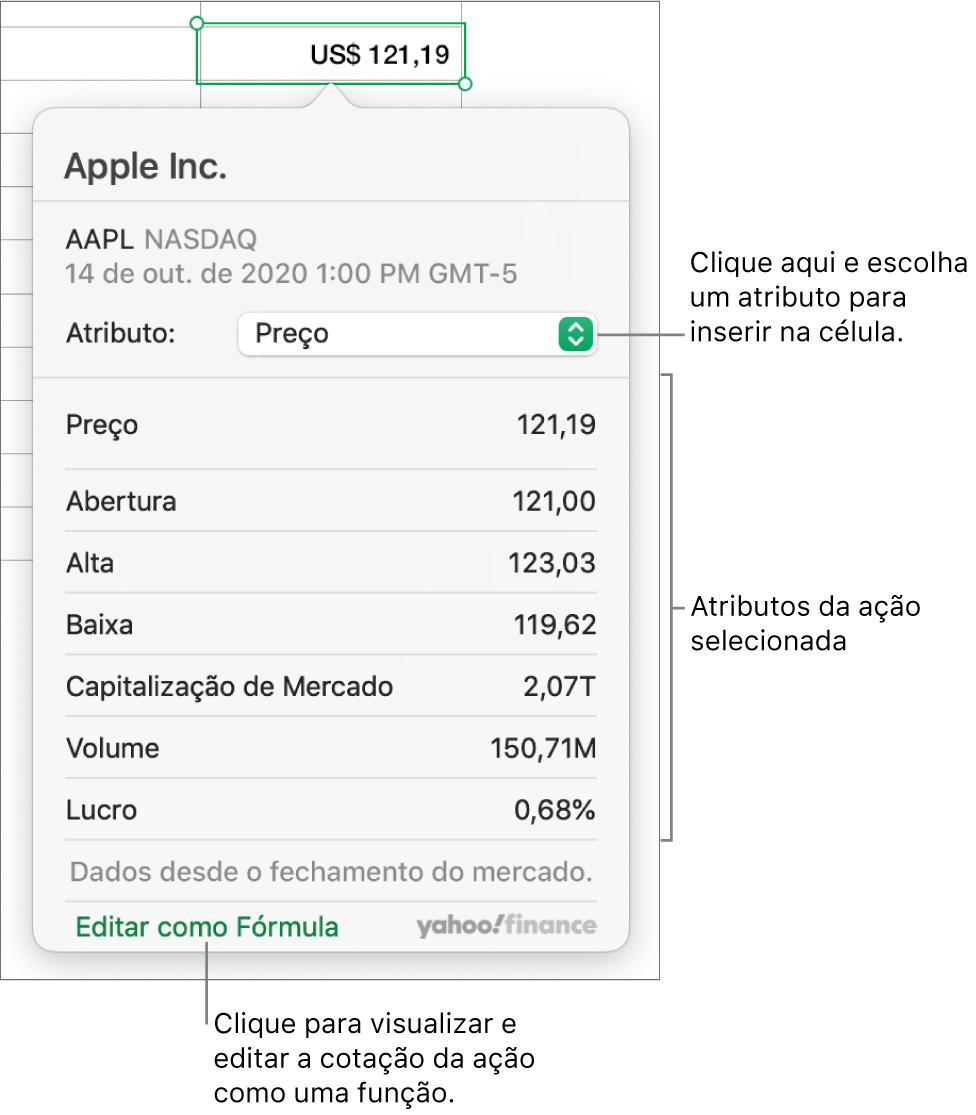A caixa de diálogo para digitar informações de atributos de ações, com a ação da Apple selecionada.