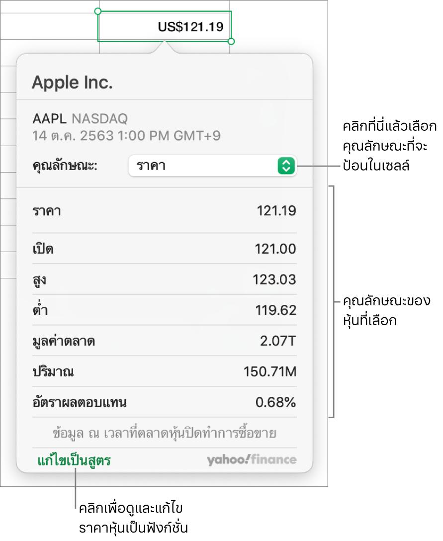 หน้าต่างโต้ตอบสำหรับป้อนข้อมูลคุณลักษณะหุ้น โดยมี Apple เป็นหุ้นที่เลือก