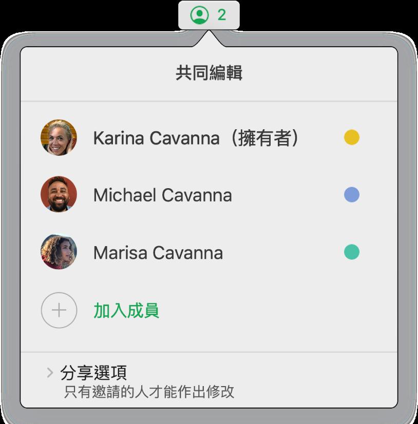 「共同編輯」選單,顯示共同編輯試算表的人員名稱。分享選項顯示在名稱下方。