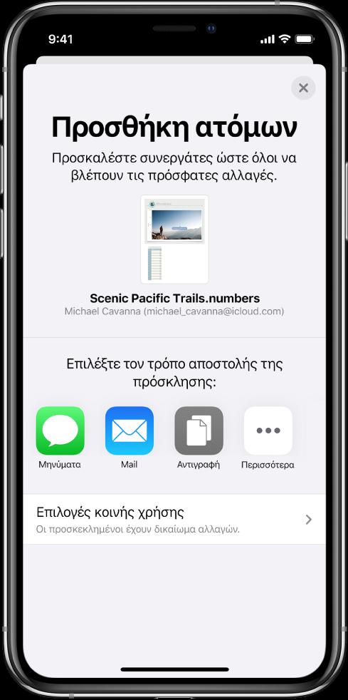 Η οθόνη «Προσθήκη ατόμων» στην οποία εμφανίζεται μια φωτογραφία του υπολογιστικού φύλλου προς κοινή χρήση. Κάτω από αυτήν υπάρχουν κουμπιά για την αποστολή της πρόσκλησης με διάφορους τρόπους, όπως Μηνύματα και Mail, «Αντιγραφή συνδέσμου» και «Περισσότερα». Στο κάτω μέρος υπάρχει το κουμπί «Επιλογές κοινής χρήσης».