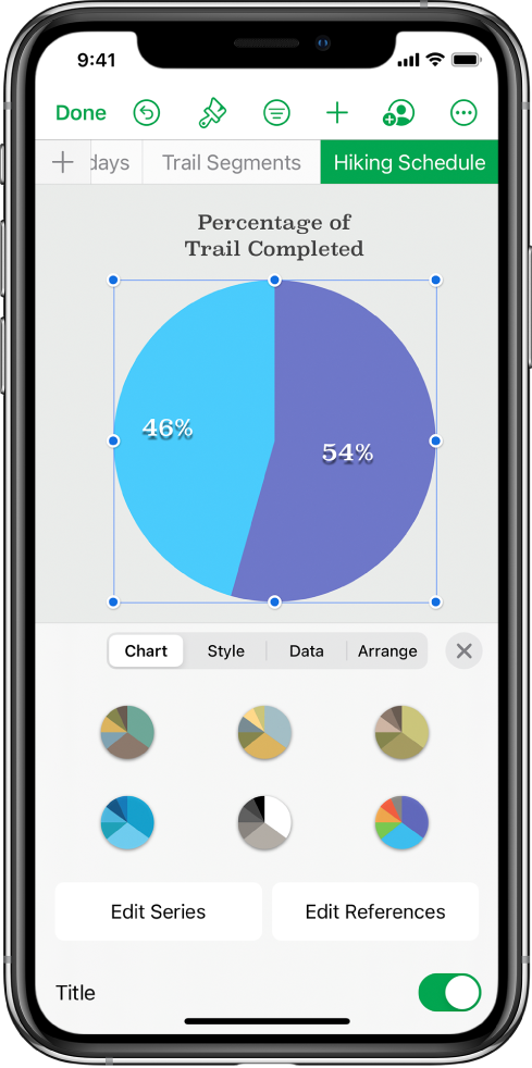 A pie chart showing percentages of trails completed. The Format menu is also open, showing different chart styles to choose from, as well as options to edit the series or chart references, and turn the chart title on or off.