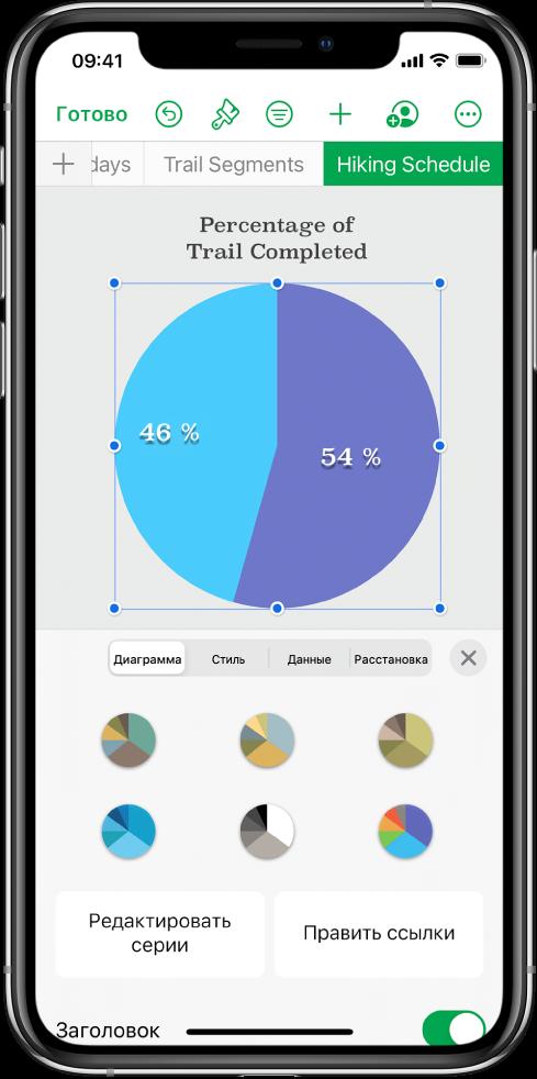 Круговая диаграмма, на которой показано процентное соотношение пройденных маршрутов. Открыто меню «Формат». В нем показаны различные стили диаграмм, из которых можно выбирать. Также отображаются параметры, позволяющие изменить ссылки на серию данных или на диаграмму и показать или скрыть заголовок диаграммы.