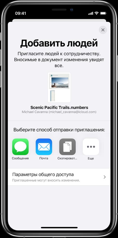 На экране «Добавить участников» показано изображение таблицы, к которой будет открыт доступ для других пользователей. Ниже расположены кнопки для приглашения других пользователей, в том числе кнопка сообщений и почты, «Скопировать ссылку» и «Еще». Внизу находится кнопка «Параметры доступа».