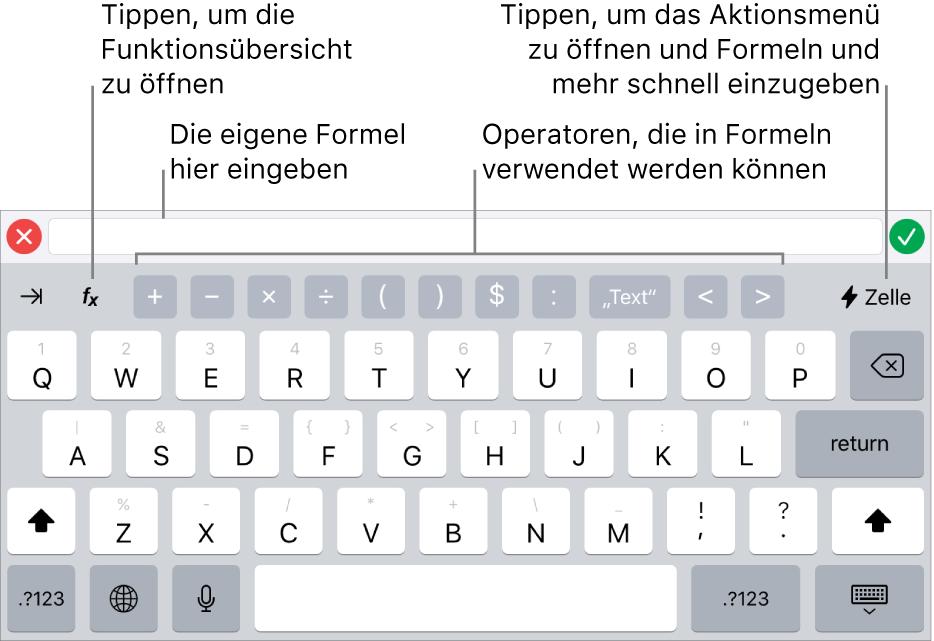 """Die Tastatur für Formeln mit dem Formeleditor oben und den in Formeln verwendeten Operatoren darunter. Die Taste """"Funktionen"""" zum Öffnen der Funktionsübersicht befindet sich links neben den Operatoren, die Taste des Aktionsmenüs ist rechts."""