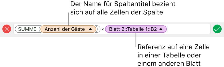 Formeleditor mit einer Formel, die sich auf eine Spalte in einer Tabelle und eine Zelle in einer anderen Tabelle bezieht.