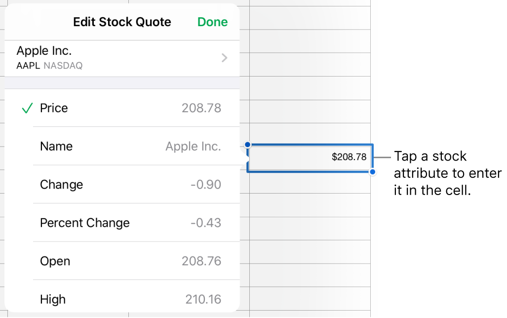 The stock quote popover, with the stock name at the top, and selectable stock attributes including price, name, change, percent change, open, and high listed below.