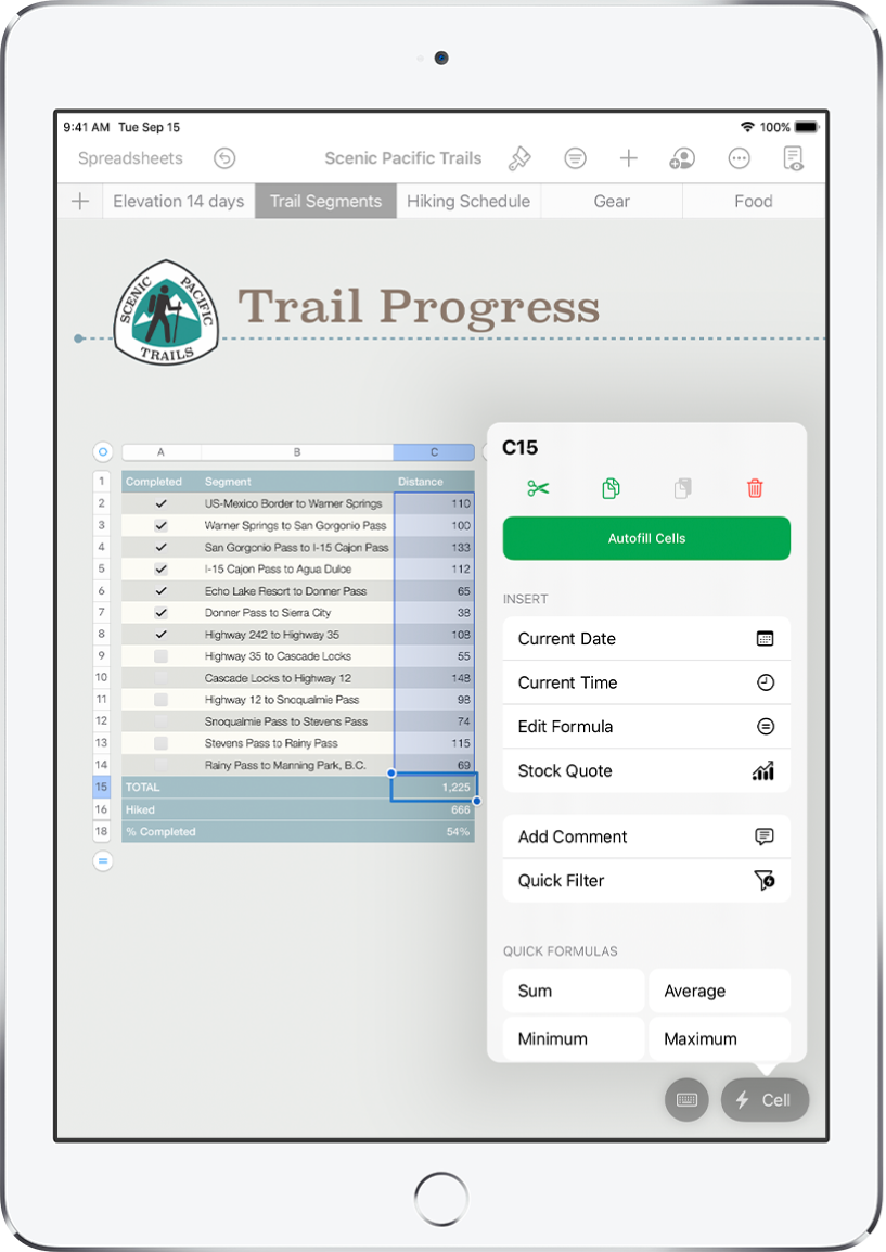 A spreadsheet showing a table of trails hiked and the distance of each trail. The Cell Action menu is open, showing options to add formulas, dates, comments, and filters.