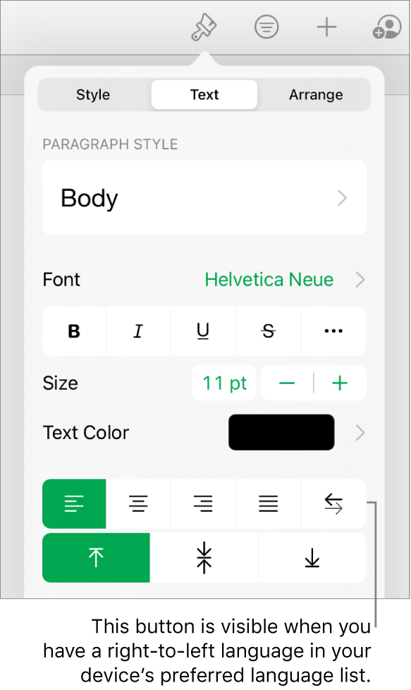The Style section of the Format menu with a callout to the Right to Left button.