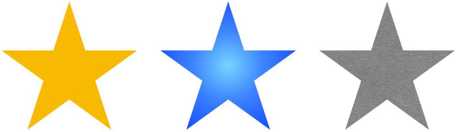 Trzy kształty przedstawiające gwiazdę, zawierające różne wypełnienia. Jeden kształt ma jednolite wypełnienie żółtym kolorem, drugi ma niebieski gradient, atrzeci wypełniony jest obrazkiem.