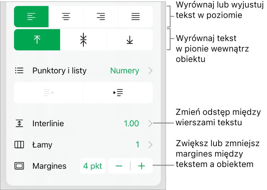 Sekcja Makieta na pasku bocznym Format zopisami wskazującymi przyciski wyrównania iodstępów tekstu.
