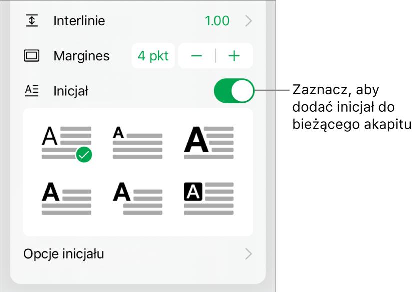 Narzędzia inicjału znajdujące się na dole menu Tekst.