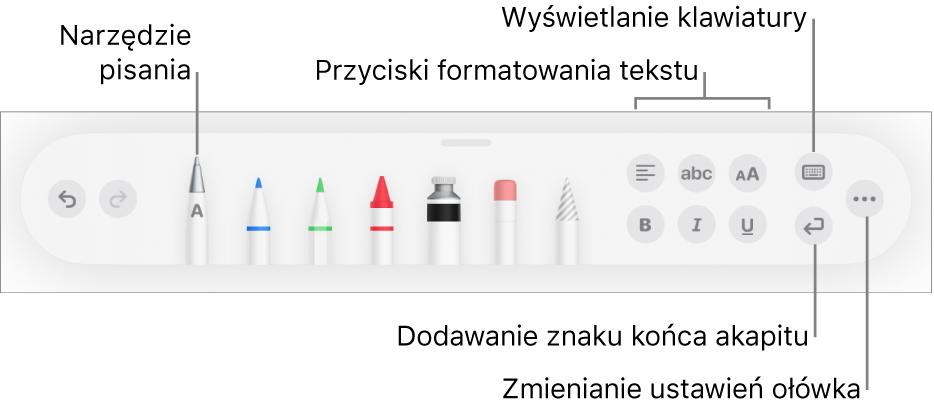 Pasek narzędzi pisania irysowania, oraz narzędzie Pisanie odręczne po lewej. Po prawej znajdują się przyciski pozwalające na formatowanie tekstu, wyświetlanie klawiatury, dodawanie znaków końca akapitu oraz otwieranie menu Więcej.