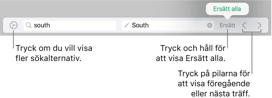 Reglage för att söka efter och ersätta text.