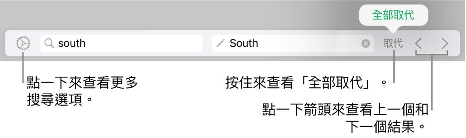 用於尋找和取代文字的控制項目。