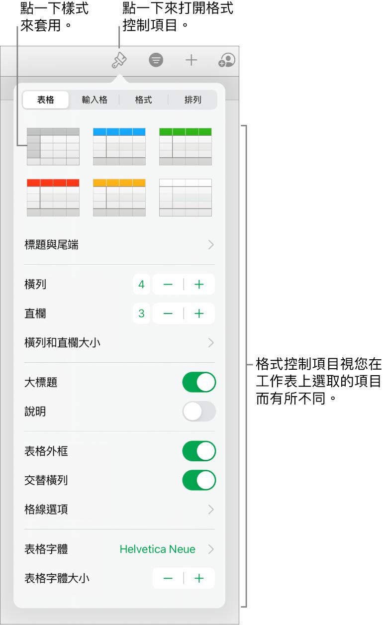 「格式」按鈕的「表格」面板。