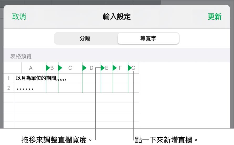 等寬文字檔案的輸入設定。