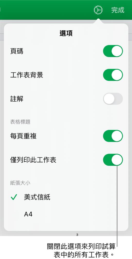 預覽列印面板,帶有以下控制項目:顯示頁碼、重複每頁標題、更改紙張大小,以及選擇要列印整份試算表或僅列印目前的工作表。