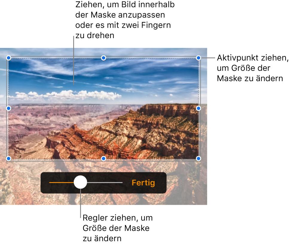 Maskierungssteuerelemente über einem Foto