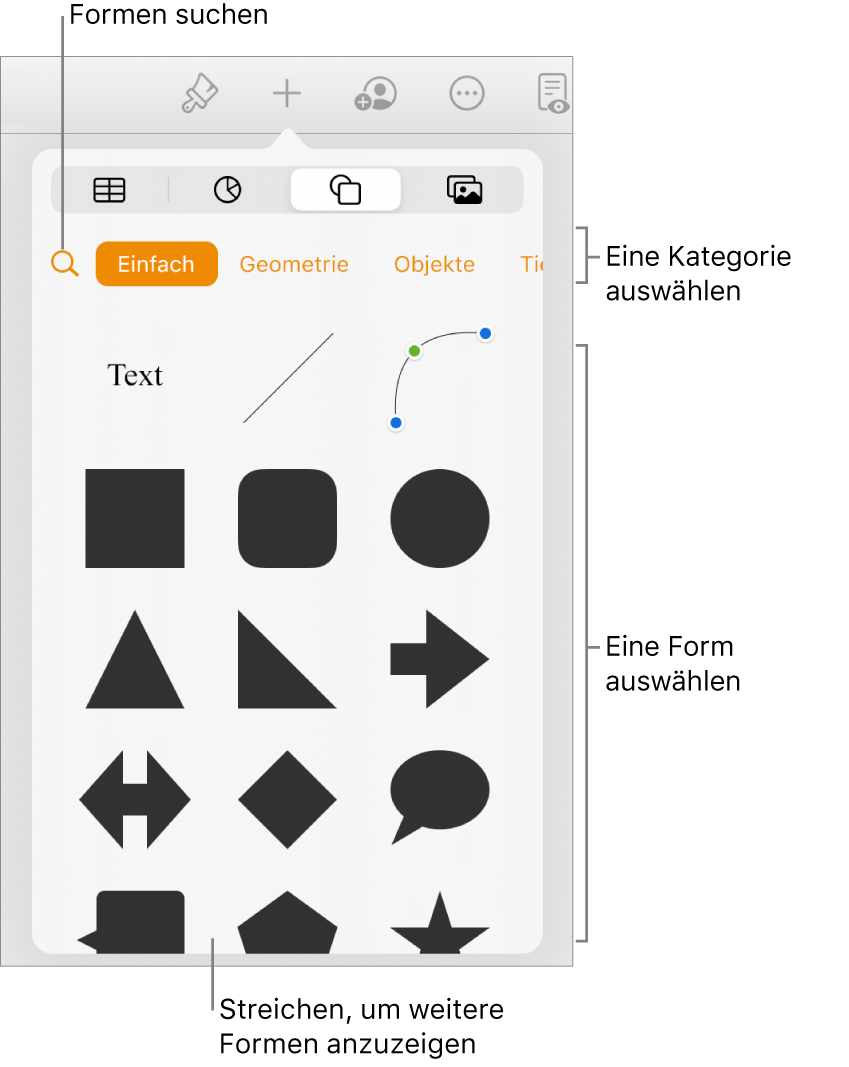 Die Formensammlung mit Kategorien oben und darunter angezeigten Formen. Du kannst die oben angezeigte Taste zum Suchen verwenden, um Formen zu finden. Durch Streichen kannst du weitere Formen anzeigen.