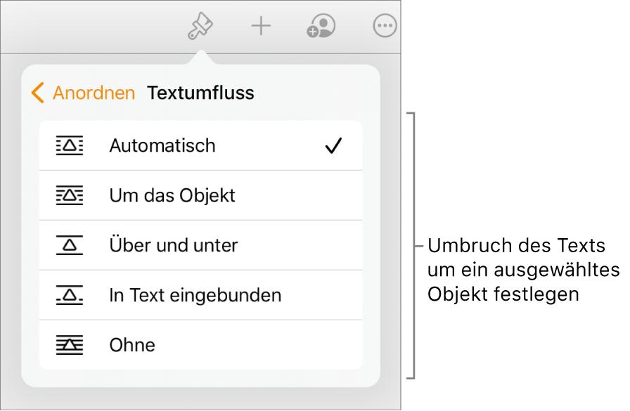 """In den Formatsteuerungen ist der Tab """"Anordnen"""" ausgewählt. Darunter befinden sich die Steuerelemente für Textumbruch mit """"Nach hinten/vorn bewegen"""", """"Mit Text bewegen"""" und """"Textumbruch""""."""