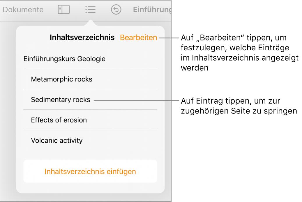 """Das Inhaltsverzeichnis mit den Einträgen in Listenform. Die Taste """"Bearbeiten"""" befindet sich in der oberen rechten Ecke der Darstellung."""