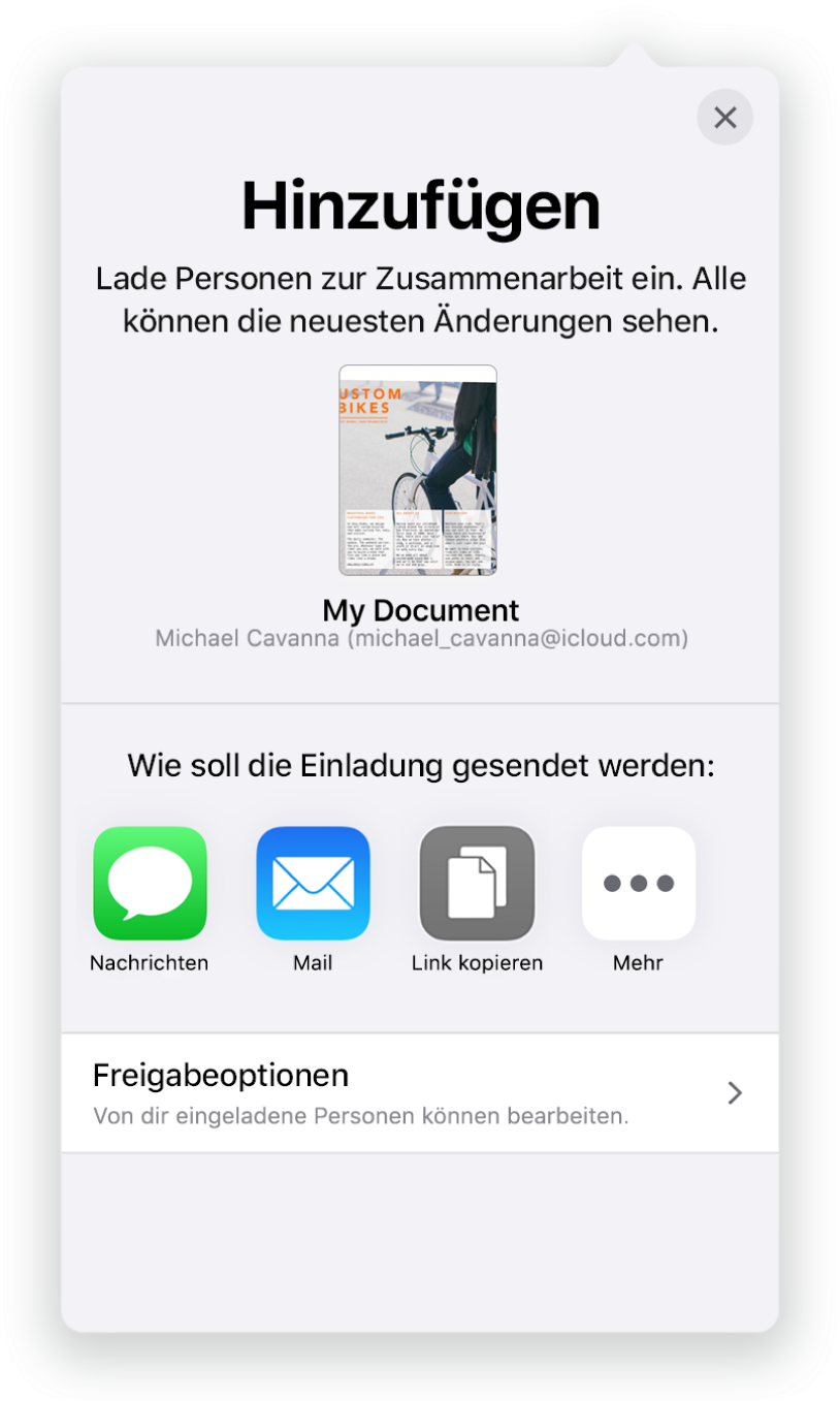 """Im Bildschirm """"Personen hinzufügen"""" wird ein Bild des Dokuments angezeigt, das geteilt werden soll. Darunter befinden sich Tasten für die Optionen zum Senden der Einladung, inkl. Mail, """"Link kopieren"""" und mehr. Unten im Bildschirm ist die Taste """"Freigabeoptionen""""."""