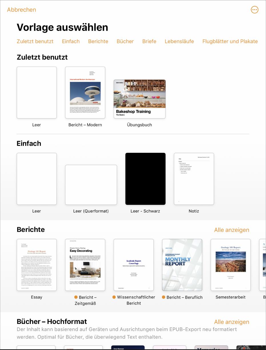 """Die Vorlagenauswahl zeigt oben eine Zeile mit Kategorien, auf die du tippen kannst, um die Optionen zu filtern. Darunter sind die Miniaturen der vordefinierten Vorlagen in Zeilen nach Kategorie sortiert, angefangen bei """"Zuletzt benutzt"""" oben und gefolgt von """"Einfach"""" und """"Berichte"""". Die Taste """"Alle anzeigen"""" befindet sich über und rechts von jeder Kategoriezeile. Die Taste für Sprache und Region befindet sich oben rechts."""