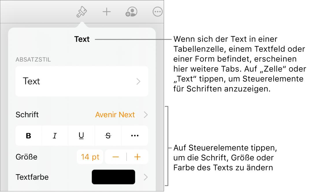 """Textsteuerelemente im Menü """"Format"""" zum Festlegen von Absatz- und Zeichenstilen, Schrift, Größe und Farbe"""