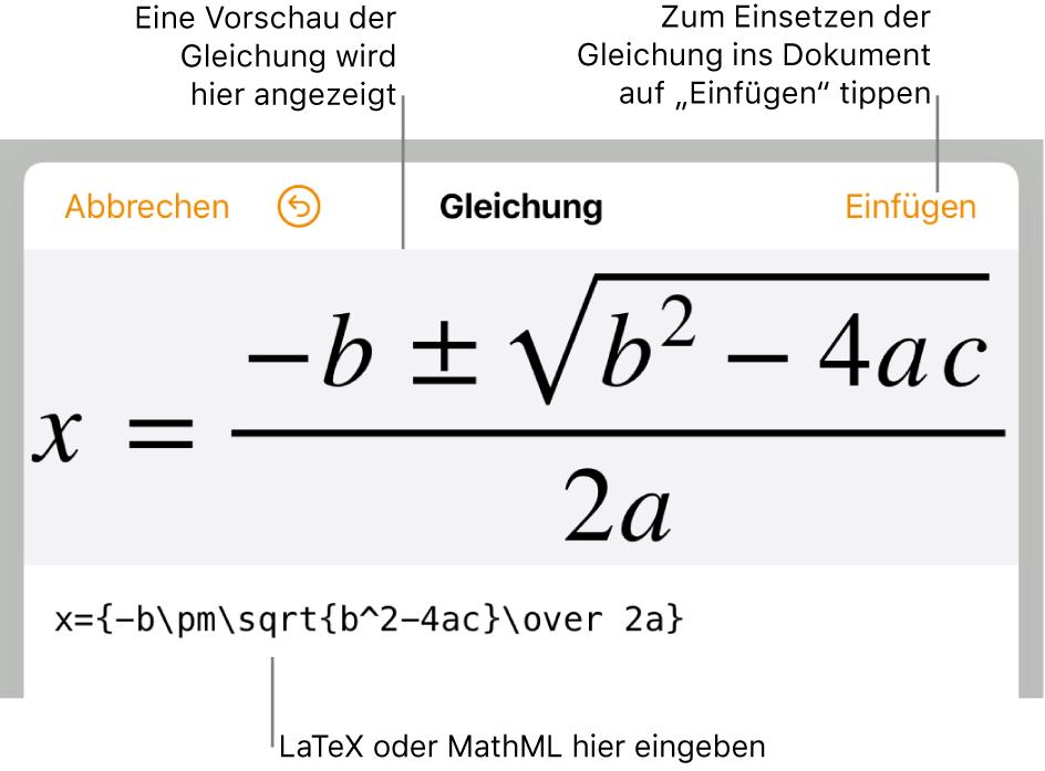 """Im Dialogfenster """"Gleichung bearbeiten"""" wird die quadratische Formel angezeigt, die mit LaTeX-Befehlen geschrieben wurde, darüber wird eine Vorschau der Formel angezeigt."""