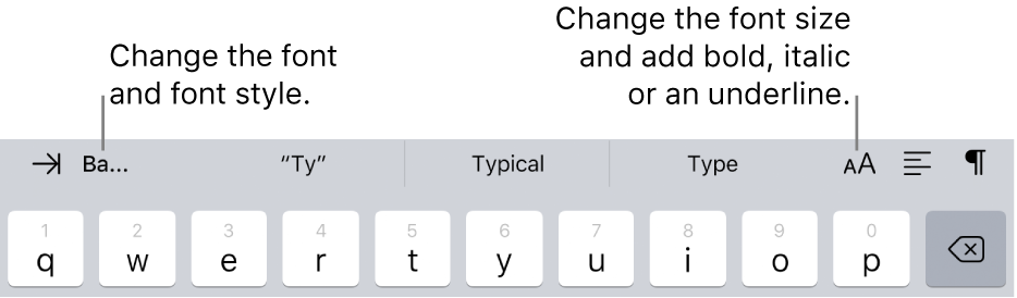 The text formatting buttons above the keyboard, starting on the left with indent, font, three predictive text fields, font size, alignment and insert.