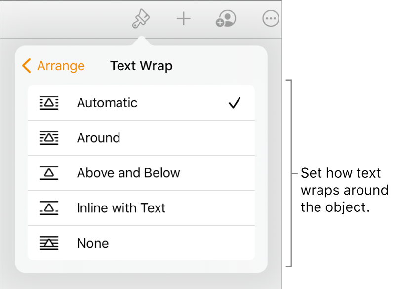 The Format controls with the Arrange tab selected. Below it are Text Wrap controls with Move to Back/Front, Move with Text and Text Wrap.