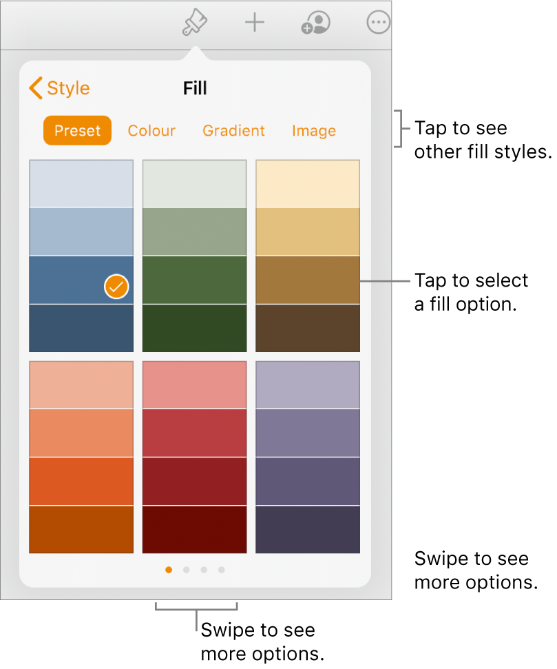 Fill options in the Style tab of the Format button.