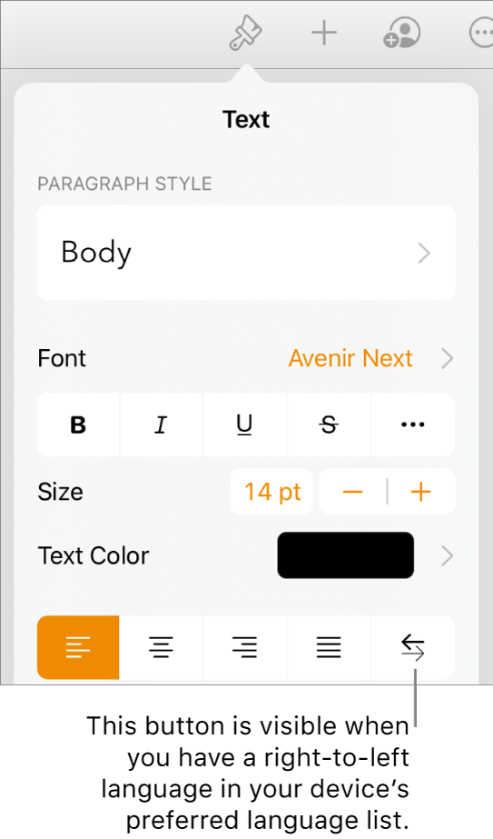 Text controls in the Format menu with a callout pointing to the Right to Left button.