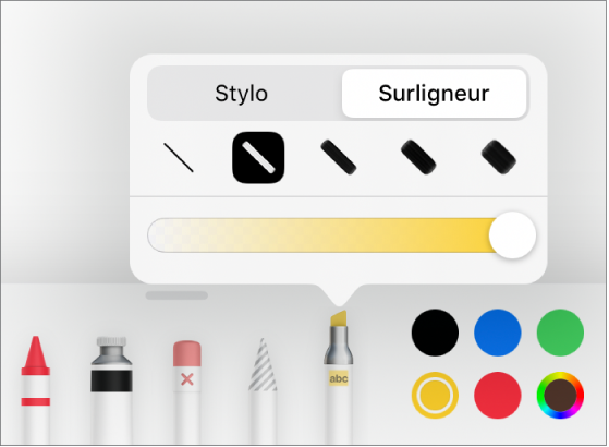 Le menu de l'outil d'annotation intelligente avec les boutons du stylo et du surligneur, les options de largeur des traits et le curseur d'opacité.