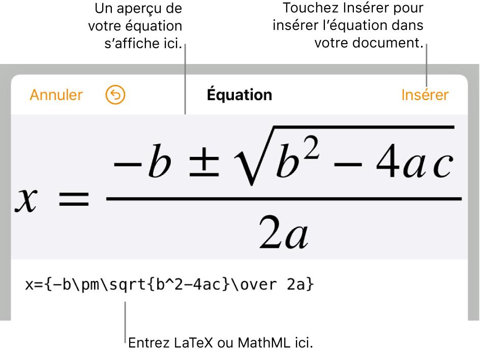 Zone de dialogue de modification d'équation, affichant la formule quadratique composée à l'aide des commandesLaTeX et l'aperçu de la formule au-dessus.