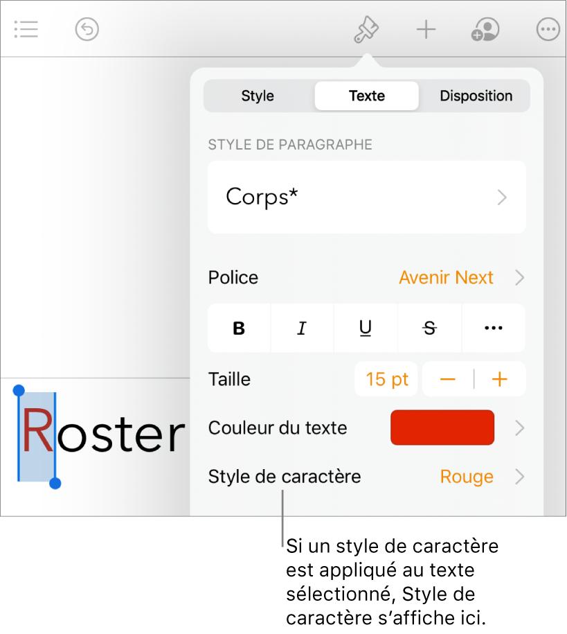 Commandes de mise en forme du texte avec Style de caractère sous les commandes de couleur de texte.