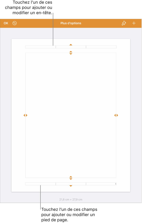 Présentation Plus d'options avec trois champs en haut du document pour les en-têtes et trois champs en bas pour les bas de page.