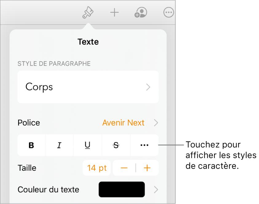 Les commandes de Format avec les styles de paragraphes en haut, puis les commandes de Police. Sous Police se trouvent les boutons Gras, Italique, Souligné, Barré et Plus d'options de texte.