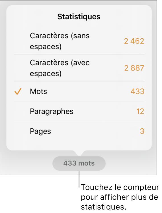 Nombre de mots avec menu présentant des options d'affichage du nombre de caractères avec et sans espaces, du nombre de mots, du nombre de paragraphes et du nombre de pages.