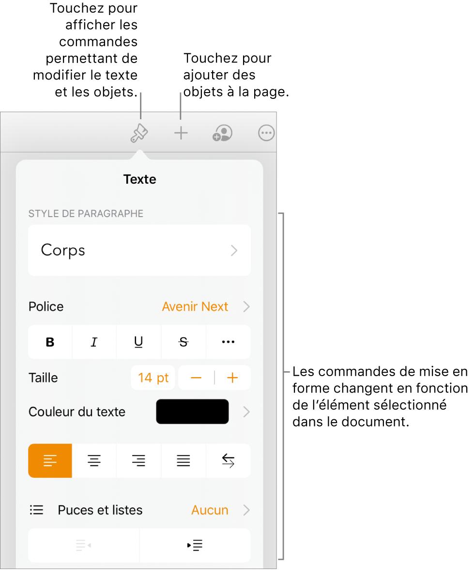 Les commandes Format s'ouvrent et affichent des commandes pour modifier le style de paragraphe, les polices et le format des polices d'espacement. Les légendes en haut montrent le bouton Format dans la barre d'outils et à sa droite, le bouton Insérer pour ajouter des objets à la page.