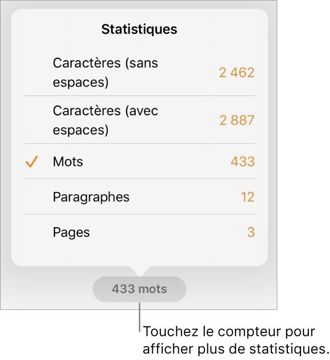 Le nombre de mots avec un menu indiquant les options permettant d'afficher le nombre de caractères avec et sans espaces, le nombre de mots, le nombre de paragraphes et le nombre de pages.