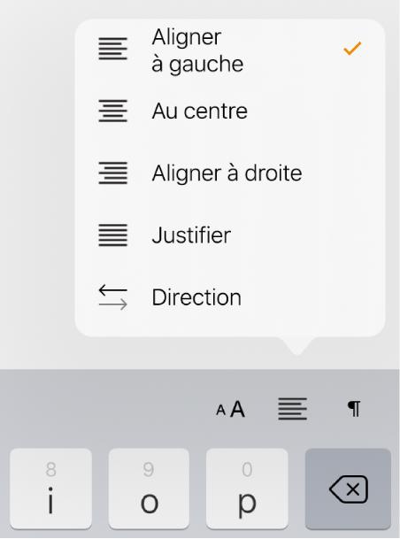 Barre de formatage présentant les commandes de mise en retrait du texte en retrait et d'alignement des paragraphes.