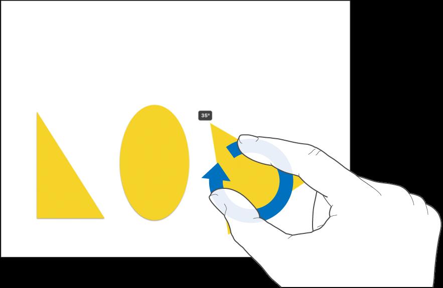 Deux doigts faisant pivoter un objet.