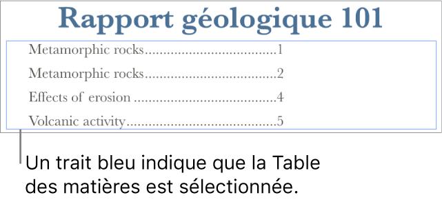 Une table des matières insérée dans un document. Les entrées affichent les titres ainsi que leurs numéros de page.