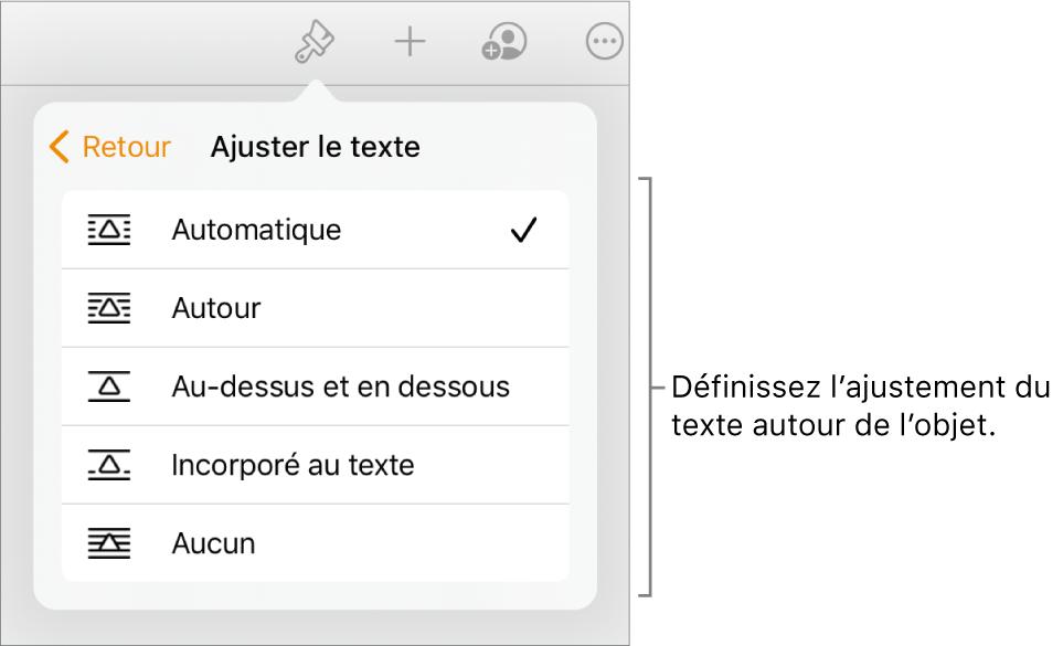 Les commandes Format avec l'onglet Disposition sélectionné. Les commandes «Ajuster le texte» avec les options «Placer derrière/devant», «Déplacer avec texte» et «Ajuster le texte» se trouvent en dessous.