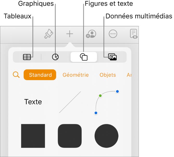 Les commandes d'insertion avec des boutons permettant d'ajouter des tableaux, des graphiques, des zones de texte, des figures et des données multimédias en haut.