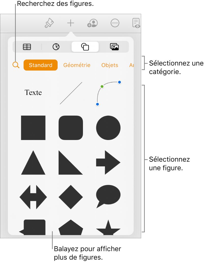 Bibliothèque de figures, les catégories étant affichées en haut et les figures, en bas. Utilisez le bouton de recherche situé en haut pour rechercher des figures. Balayez également l'écran pour en trouver d'autres.