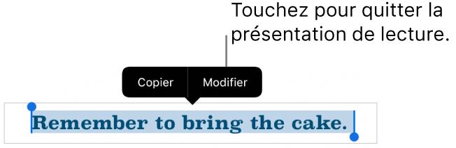 Une phrase est sélectionnée. Au-dessus de celle-ci s'affiche un menu contextuel avec les boutons Copier et Modifier.